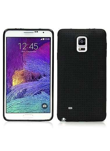Microsonic Dot Style Silikon Galaxy Note 4 Kılıf Siyah Renkli
